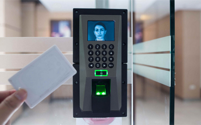 Access control terminal on door with face recognition